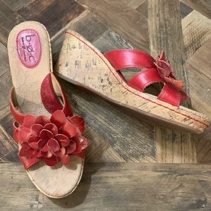 boc Born Red Floral Leather Cork Wedges si…